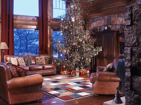 Christmas decor adorns this living room