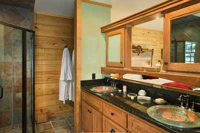 Most Creative Log Home Bathroom | Jones Custom Plan | BK Cypress Log Homes