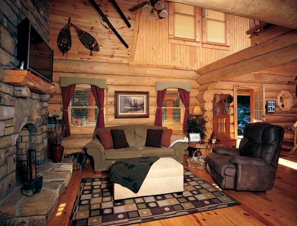 Big log home guest room