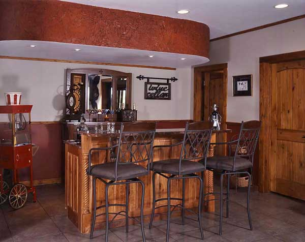 Log home basement, wet bar