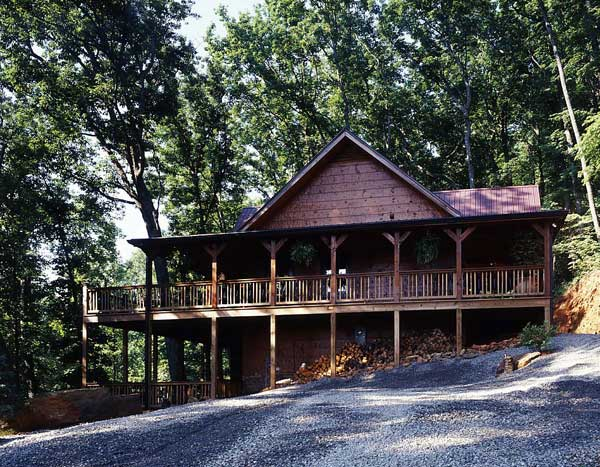 Log home exterior, porch