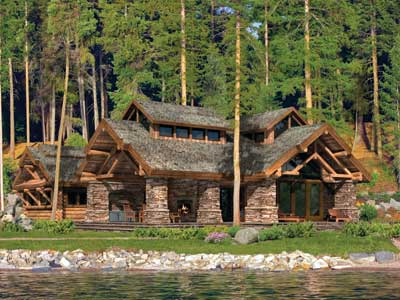 Best Use of Exterior Space for a Log Home | The Washington Harbor | PrecisionCraft Log & Timber Homes