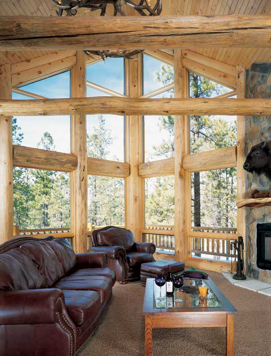 Golden Eagle log homes great room