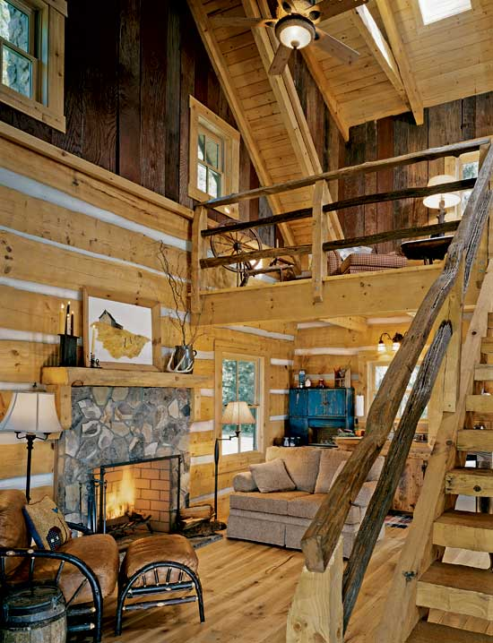 Hearthstone log home great room