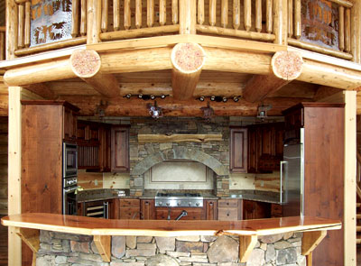 Most Creative Log Home Kitchen | The Loyalty | Log Homes Canada