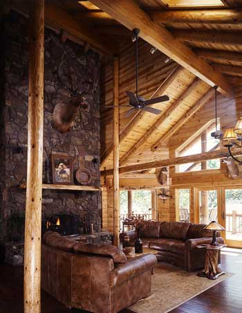 Log home great room decor