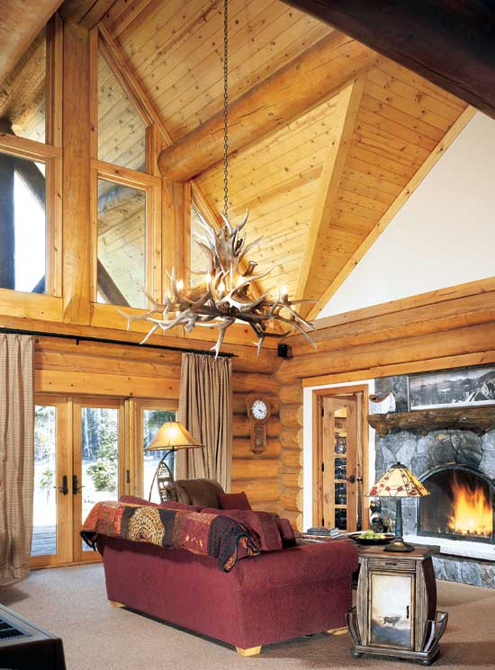 Mountain State log homes great room