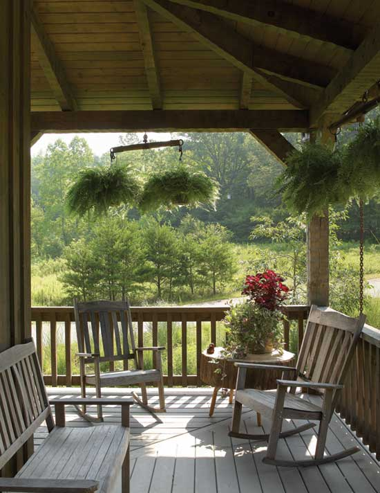 Log home porch