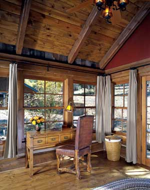 log home office with windows