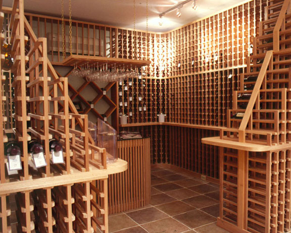 Log home wine cellar