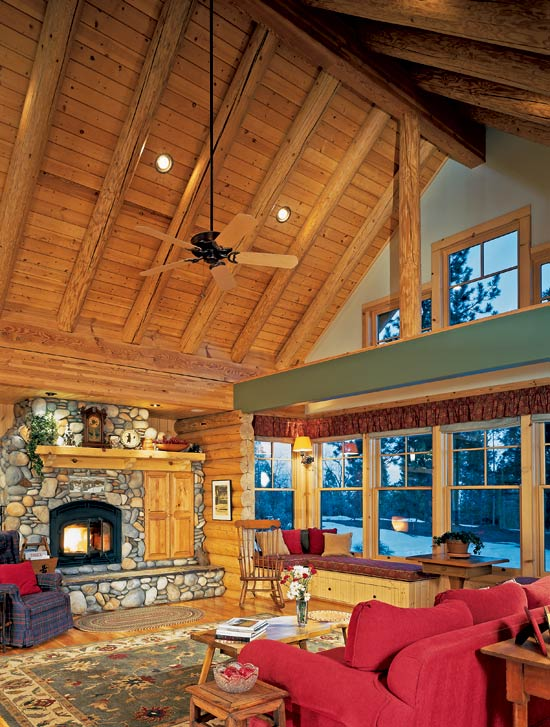 Real log homes guest room