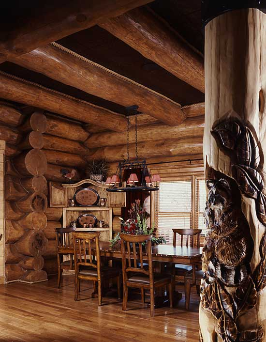 Log Home Dining Room