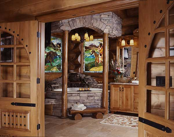 Log Home Master Bathroom