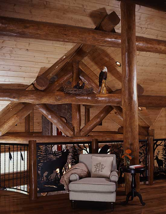 Log Home Sitting Nook in Loft