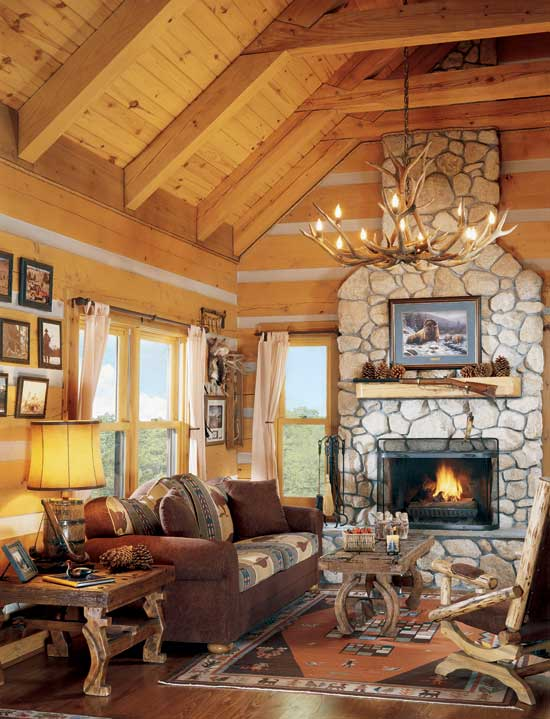 StoneMill log homes great room