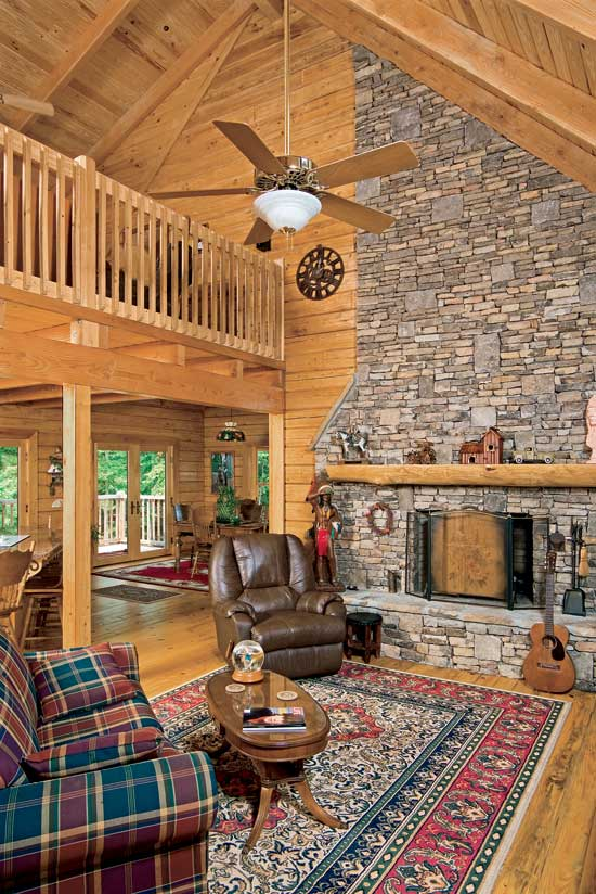 Suwannee River log homes great room