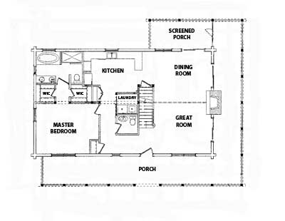 SML Lakefront Log Home Main Level Plan