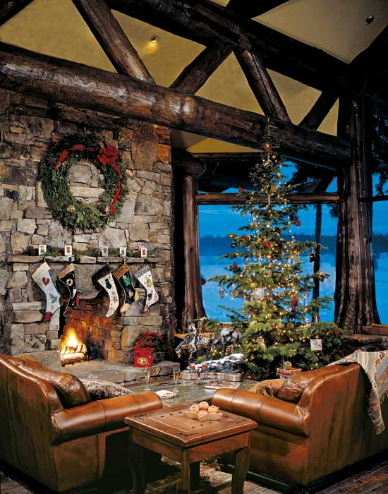 Log home great room at Christmas