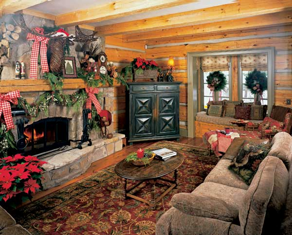 Log home living room at Christmas