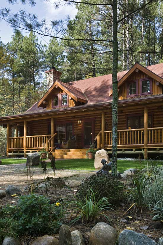 Log home front elevation