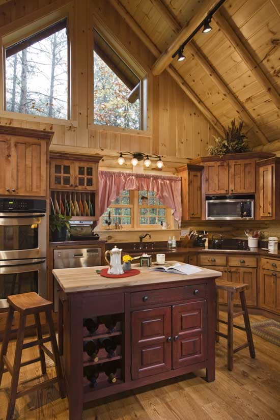Lakeside log home U-shaped kitchen