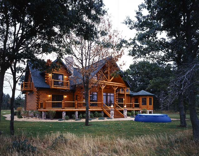 modern log cabin, Golden Eagle Log Homes