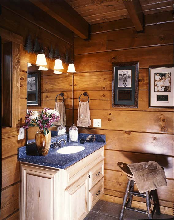 bathroom in the log home