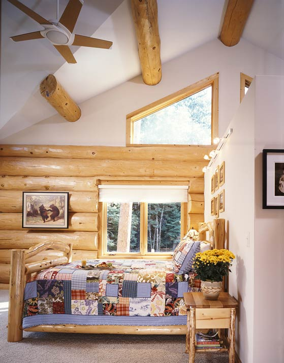Modern Log Home Bedroom
