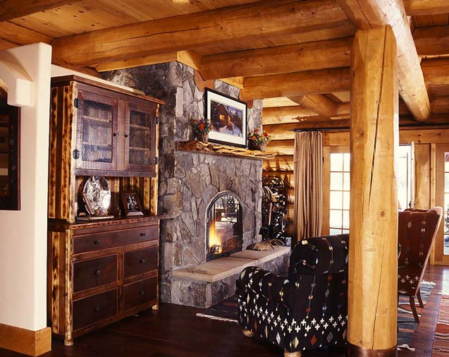 Fireplace/Hearth in a Cabin