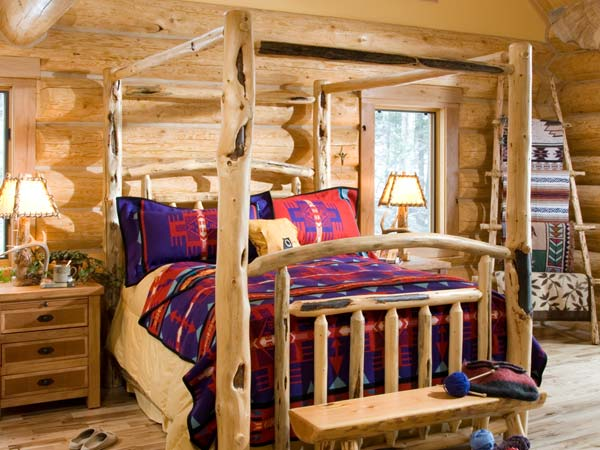 bed in log home