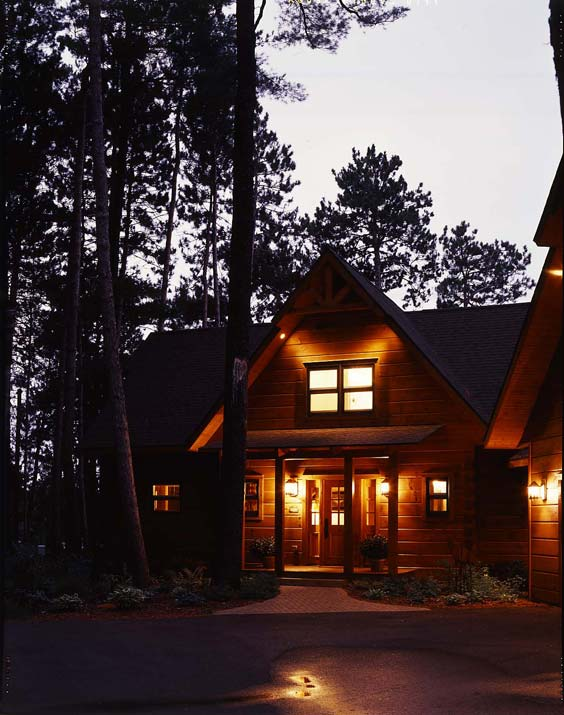 log home at night