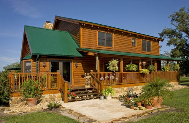 Exterior of a log home