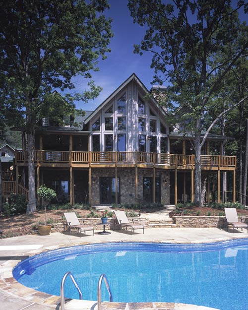 Log Home with an Outdoor Pool