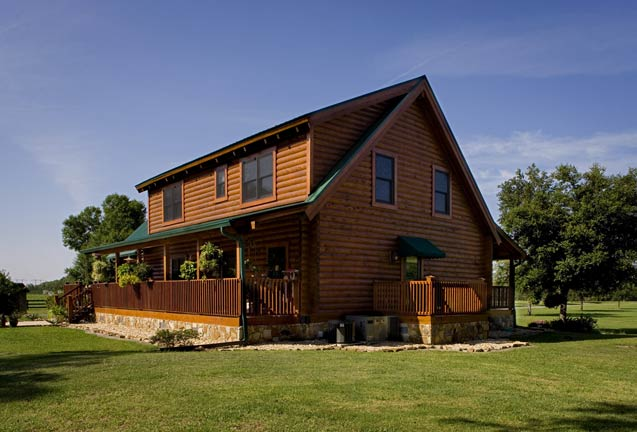 View of the log home from behind