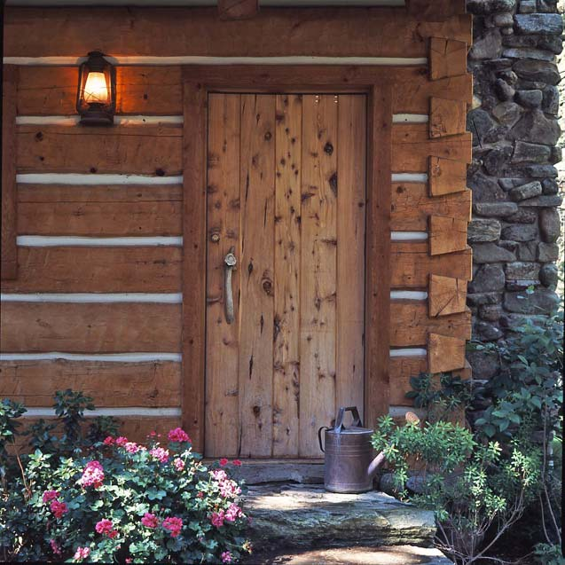 wooden cabin door