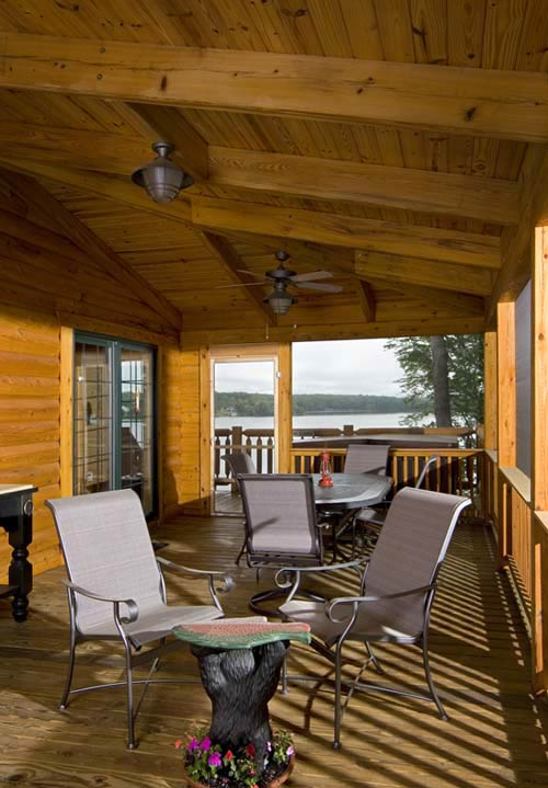 deck, porch of log home