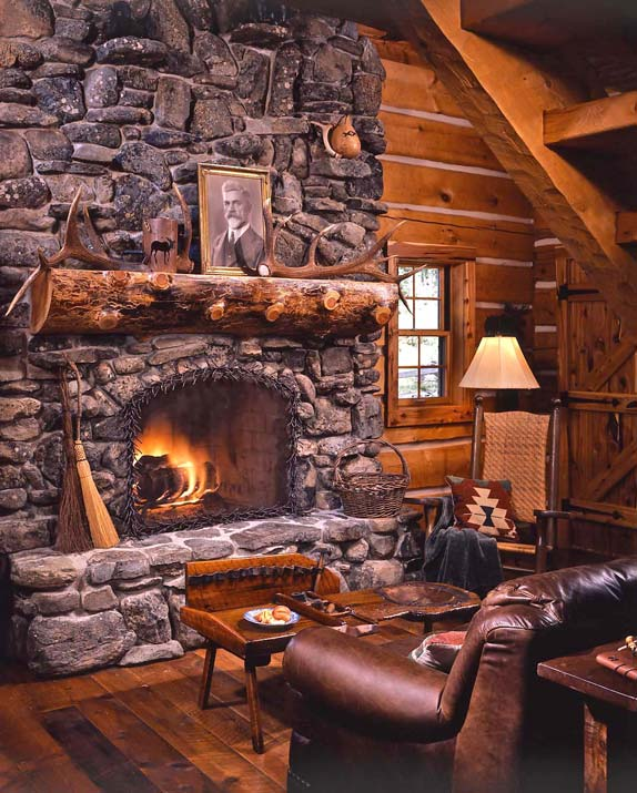 fireplace in log cabin