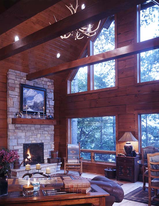 log home great room