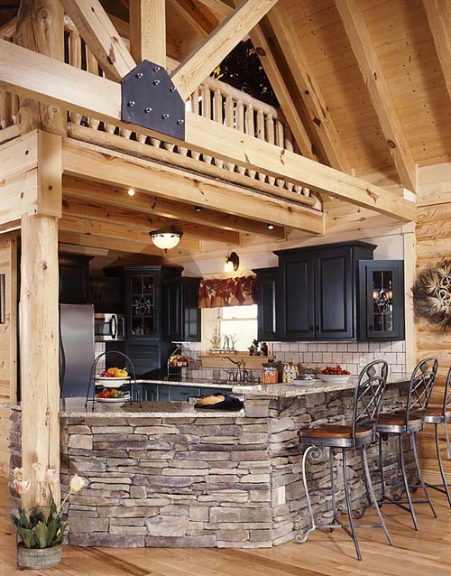 Photos of a small log home a warm welcome barna log for Cabin kitchen backsplash ideas