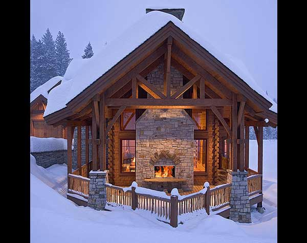 log home outdoor fireplace