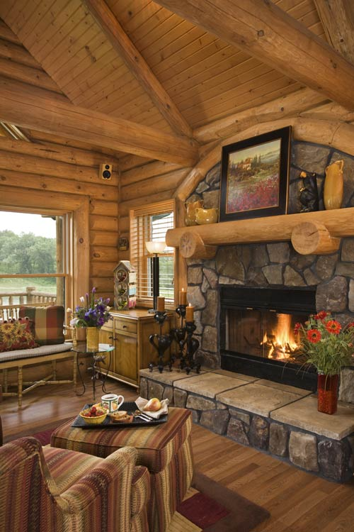 Cabin Hearth/Fireplace | Expedition Log Homes