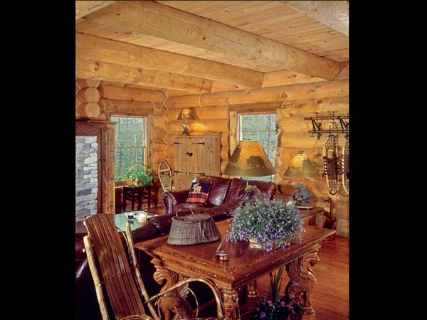 log cabin dining room