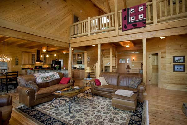 log home family room