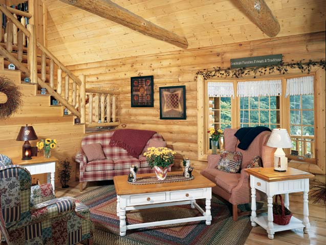 Mountainside log home photos the right angle golden for Log living room