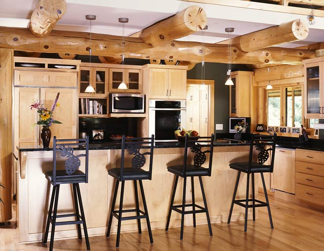 Modern Log Home Kitchen
