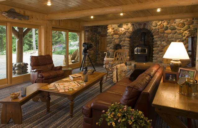 Cabin Family Room in Basement