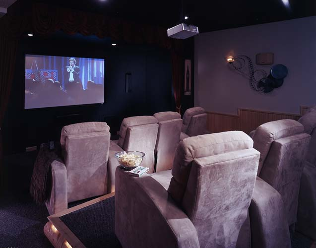 modern cabin home theater