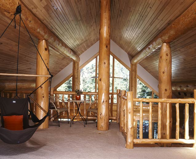 Loft in the Log Home