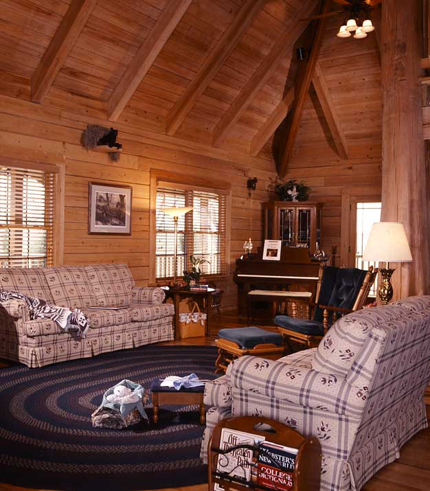 cozy log home living room