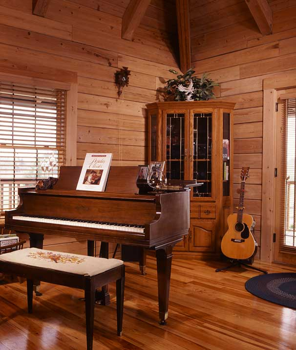 music room in the log home